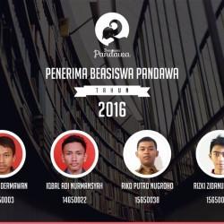 penerima beasiswa pandawa 2016-2017